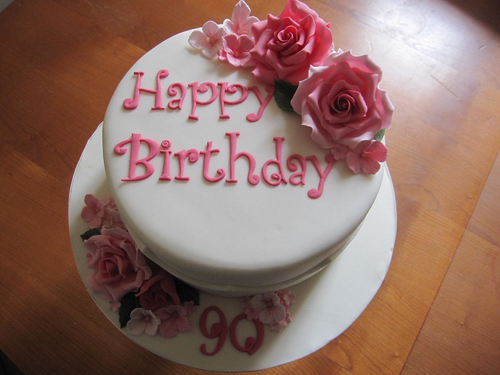 Marvelous 90Th Birthday Cake Roses Hydrangea 90Th Birthday Cake Flickr Funny Birthday Cards Online Fluifree Goldxyz