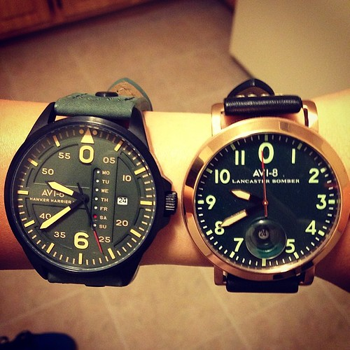 Showing off my #anniversary gift from @seansemola which is a @Avi-8 #LancasterBomber (on the right). He said he bought a watch so we'd have matching watches, or was it just another excuse to buy a watch hahaha #HeThinksHesSlick #Lol | by .Ad Astra