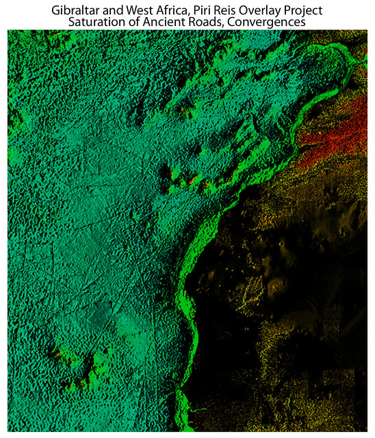 100 Thousand year old View: Atlantic Ocean Floor, West of Gibraltar and West Africa, Piri Reis overlay project, view at 200%