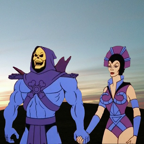 Cartoon Skeletor and woman holding hands