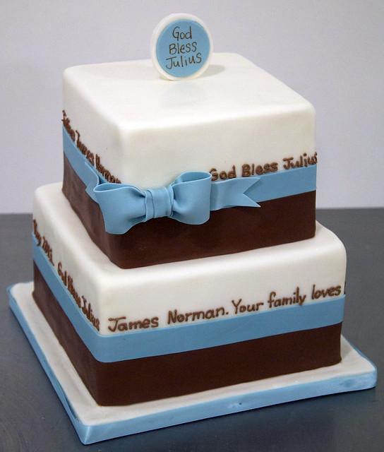 blue brown baptism cake toronto