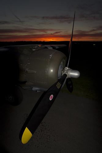 sunset dark wwii mitchell bomber b25 northamerican naa