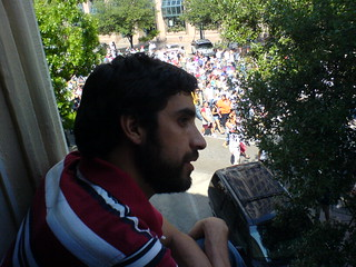 Pablo watches immigration reform protest