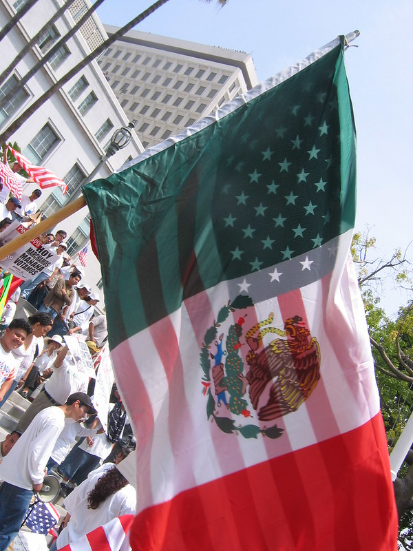 American & Mexican Flag