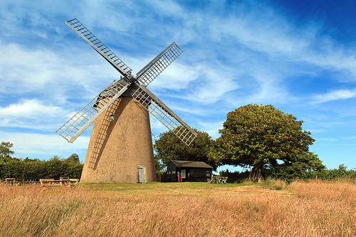 blue trees sky windmill field clouds bluesky isleofwight bembridge