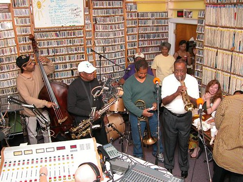 Chris Severin, James Rivers, Bob French, Freddie Lonzo, Dave Bartholomew at 'OZ fund drive, Spring 2004. Photo by Black Mold.
