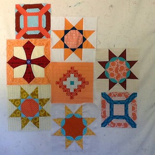 Eight pieced blocks for the new project. #stitchtease