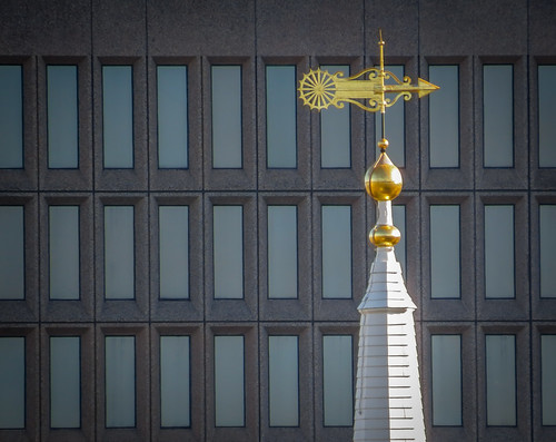 First Baptist Church weathervane in front of Textron building   by pvdEric