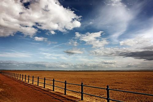 blue sea sky white beach clouds canon coast sand path empty lancashire promenade railing stannes vast fylde explored eos450d