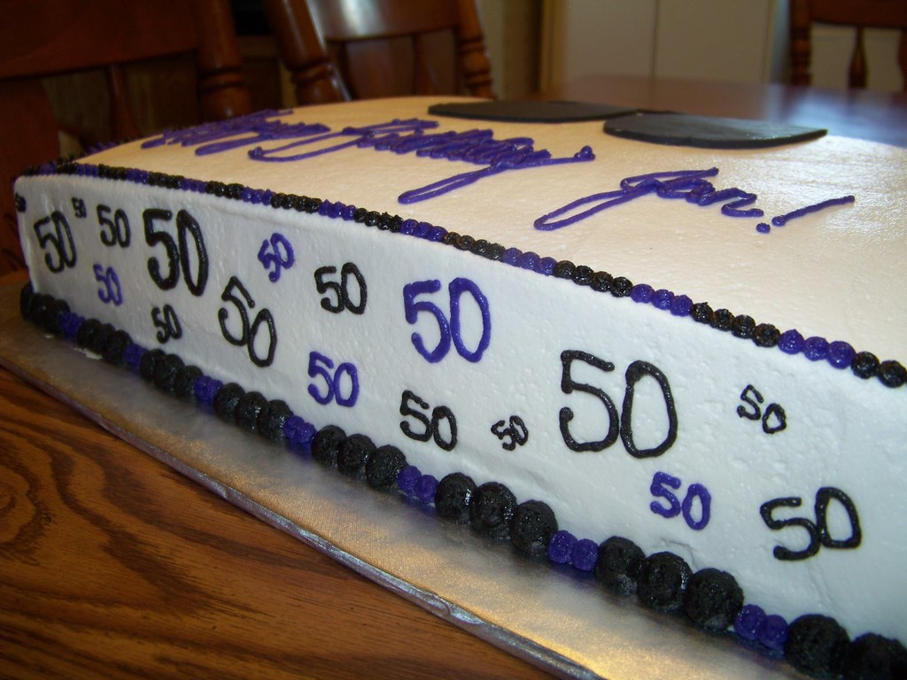 Outstanding 50Th Birthday Sheet Cake Side Cakes By Machel Flickr Funny Birthday Cards Online Alyptdamsfinfo