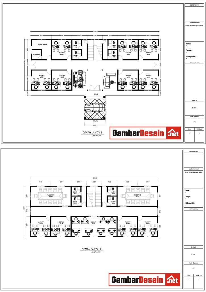 Denah Kantor  desain bangunan, desain rumah, gambar
