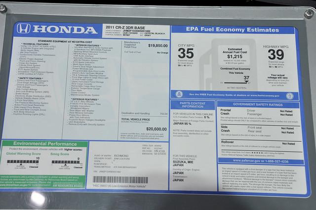 Honda CR Z sticker price