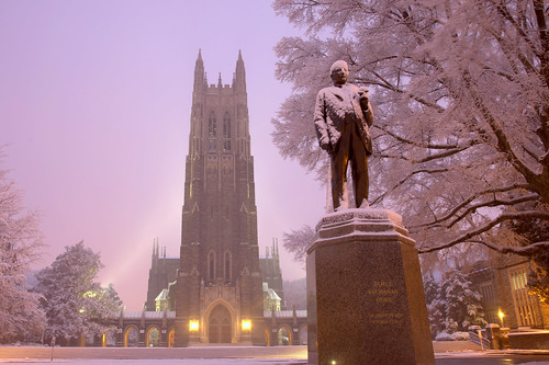 christmas morning trees white snow storm statue cane night sunrise dawn nc durham gothic duke chapel cigar quad durhamnc dukeuniversity dukechapel westcampus bullcity jamesbdukestatue