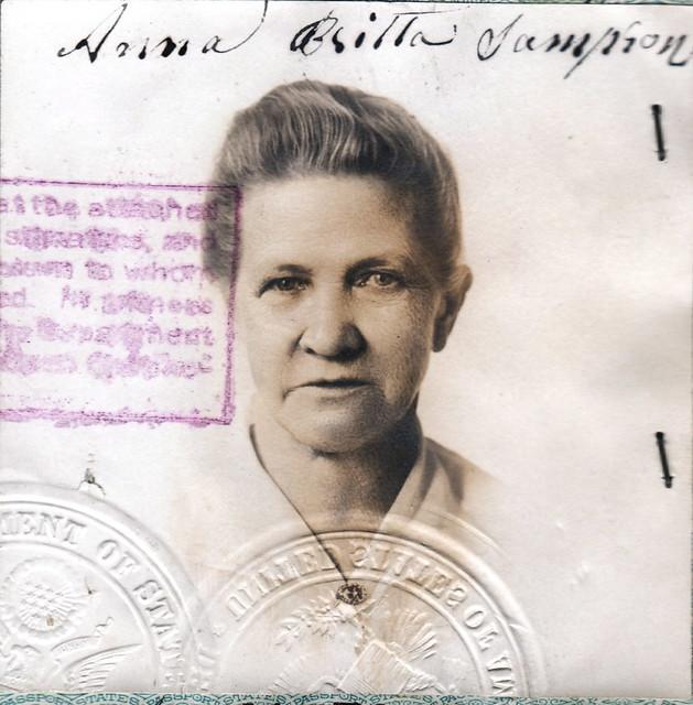 anna sampson passport 1920 photo