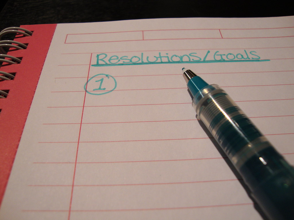 A notebook page with the heading 'goals/resolutions' and a list that starts 1.