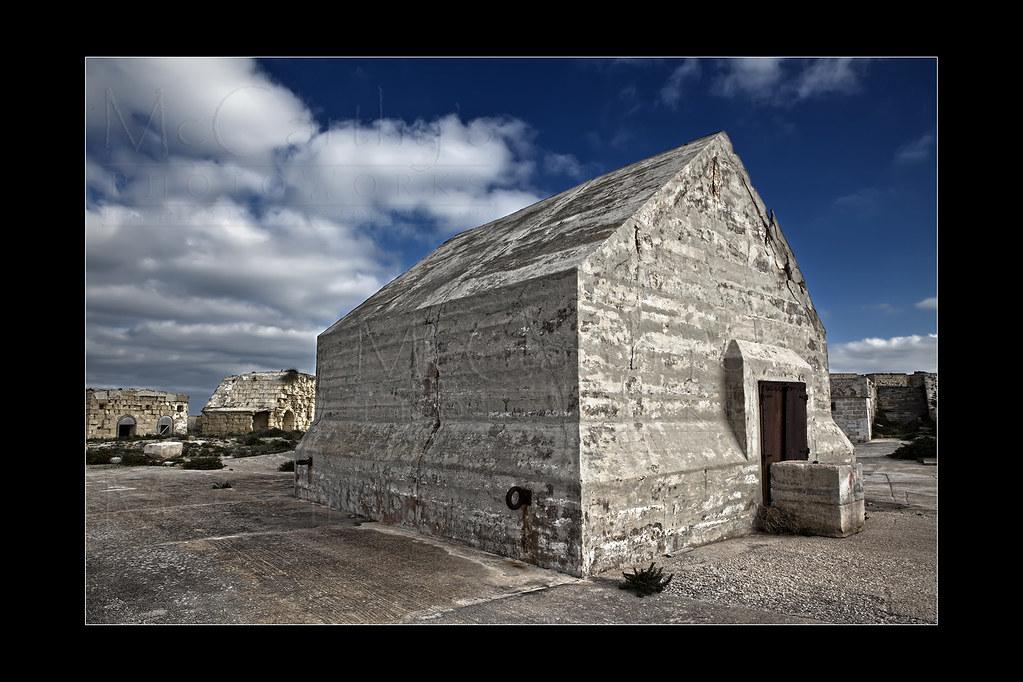 Concrete Bunker at Fort Ricasoli   This concrete building bu