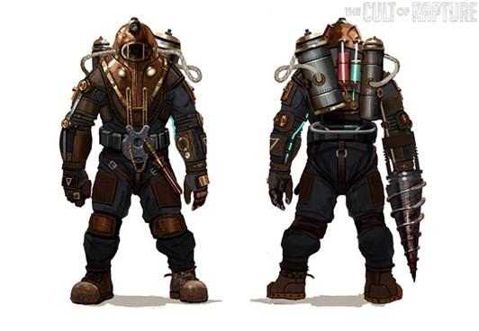Bioshock 2 Big Daddy Prototype Concept Art Angelkiroz