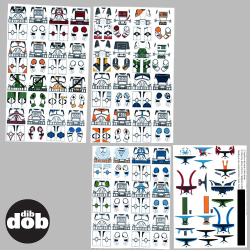 Clone Wars Trooper Decals//Stickers Pour Lego dans une star wars Style