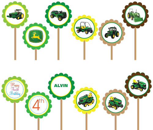 picture about John Deere Printable identified as John Deere Tractor- Printable Do-it-yourself Circle Cupcake Toppers