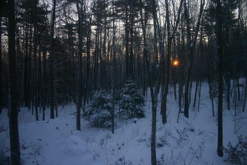 snow home window sunrise bedroom woods ouryard merrimack