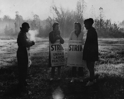 Three female and one male ILGWU members stand in the cold holding strike placards protesting unfair labor practices by the Ottenheimer company.
