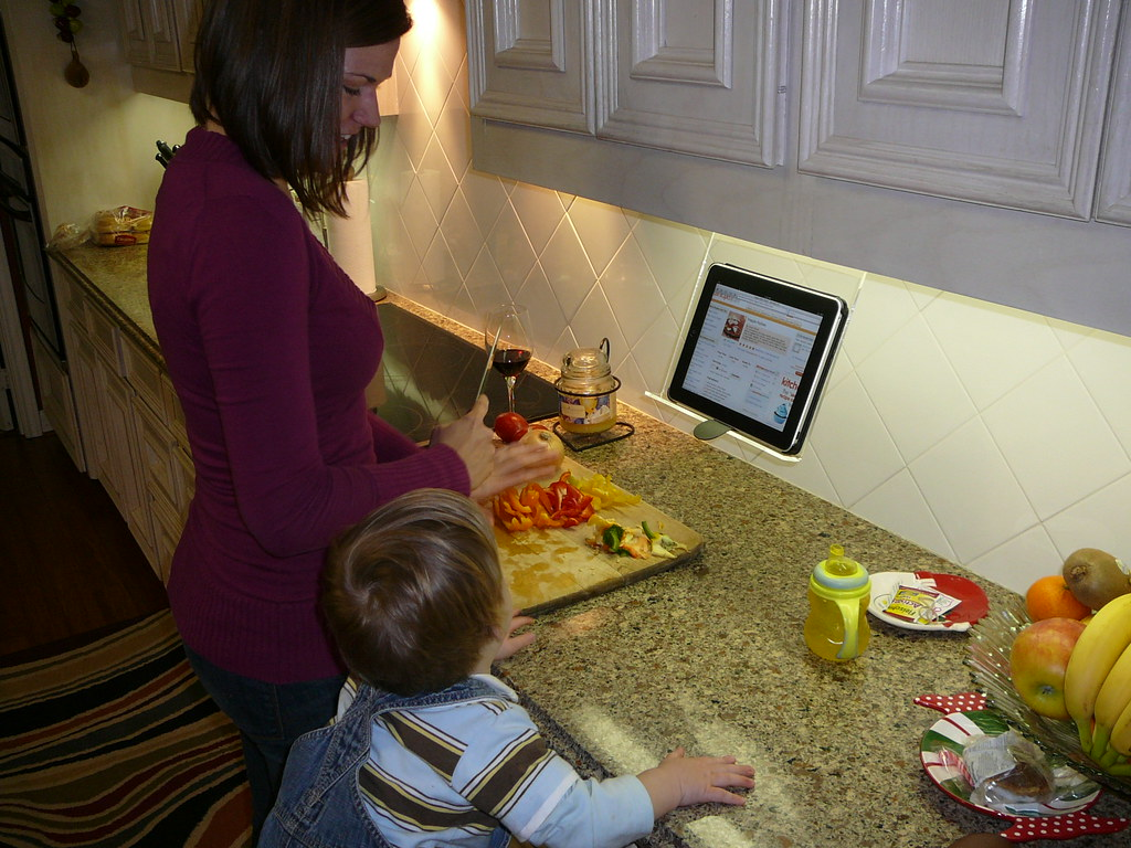 Family Cooking With New Ipad Holder The Original Kitchen I Flickr
