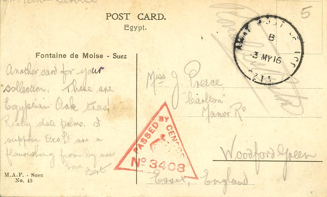 51a Reverse of Postcard 51 with WW1 censor stamp