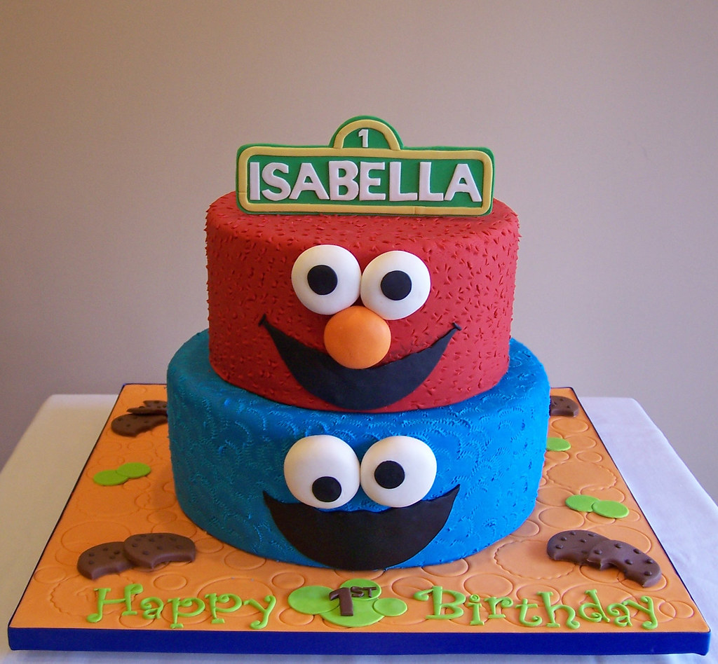 Surprising Elmo And Cookie Monster Cake This Is A 2 Tier Version Of A Flickr Funny Birthday Cards Online Inifodamsfinfo