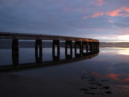 bridge sunset reflections waterfront rivertay dundee tay taybridge wormit