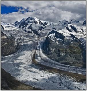 Switzerland Zermatt . : Liskamm Mountain (4527m) The  Zwilinge Mountains: Castor(4223m) and Pollux (4092m) . With the big   Grenz Gletscher. A view from Gornegrat  No. 810vc1