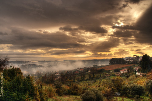 morning autumn trees houses sun sunlight fall nature fog clouds landscape vineyard sweet gorgeous valley vegetation heartwarming distance hdr cloudscape breathtaking sunray chieti