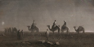 Star of Bethlehem, Magi - wise men or wise kings travel on camels with entourage across the deserts to find the savior, moon, desert, Holy Bible, Etching, 1885 | by Wonderlane