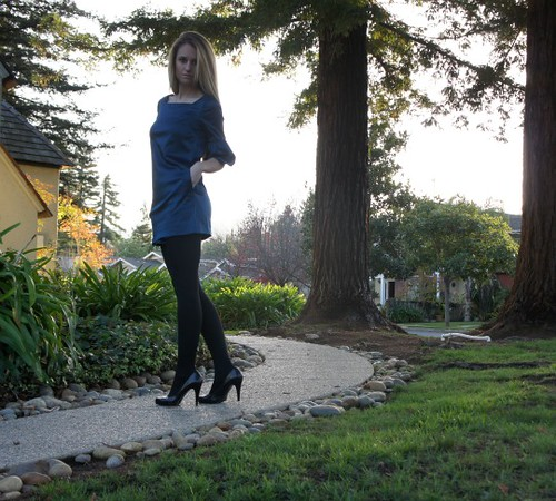 Forever 21 Hidden Pocket Royal Blue Mini Dress + Black Tights + Ralph Lauren Heels | by Iva Messy