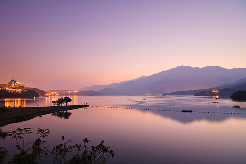 morning lake mountains reflection sunrise taiwan 南投 台灣 山 日月潭 sunmoonlake nantou 湖泊 日出 倒影 出水口