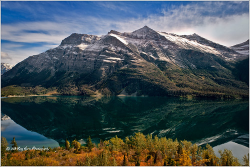 autumn sky mountains reflection water clouds montana glaciernationalpark d3s