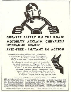 """Greater safety on the road!"" - press advert, by Ashley Havinden?, issued by Chrysler (UK), 1928"