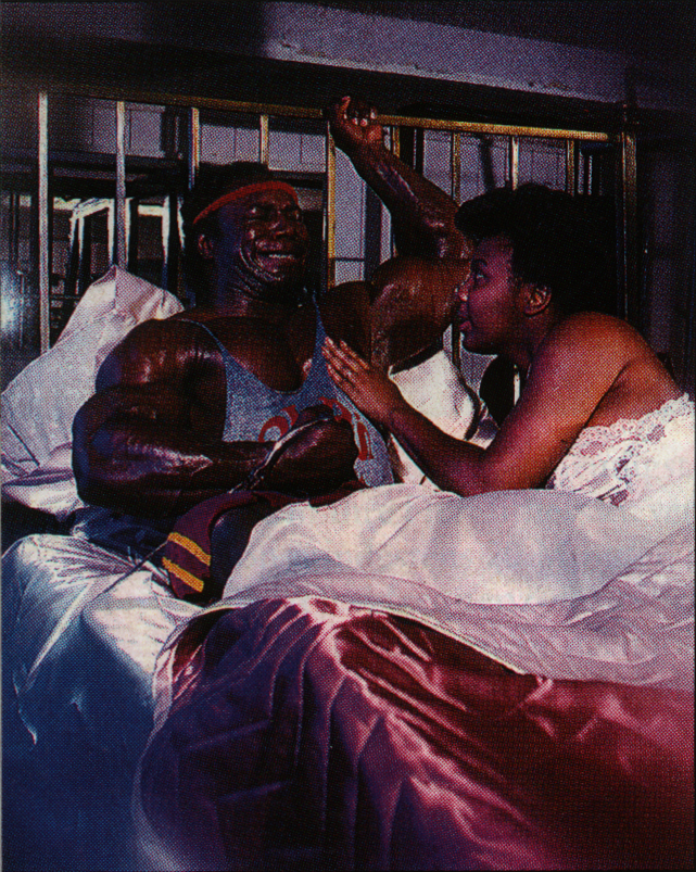 Lee Haney pumping iron when he really shouldn't