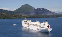 USNS Mercy (T-AH 19) sits at anchorage in Simpson Harbor off the coast of Rabaul, Papua New Guinea, July 8. (U.S. Marine Corps/Sgt. Valerie Eppler)
