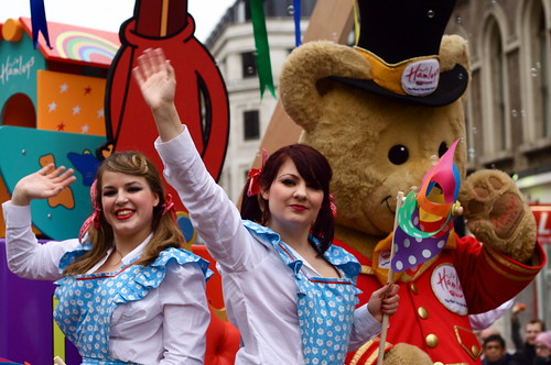 <p>The ladies from Hamleys look right down my barrel.  Oooh-errr.  <br /> It could only be at the Lord Mayor`s Show.</p>