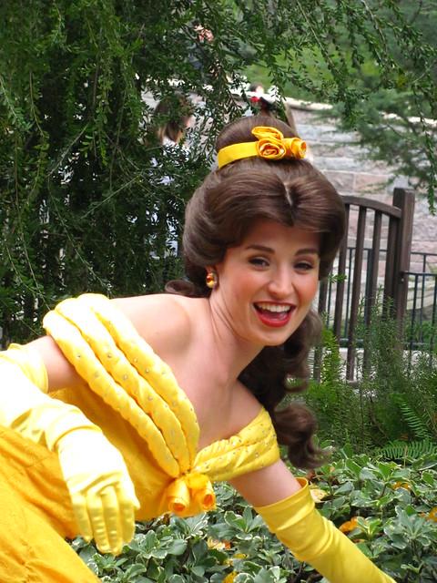 Meeting Belle near Sleeping Beauty Castle