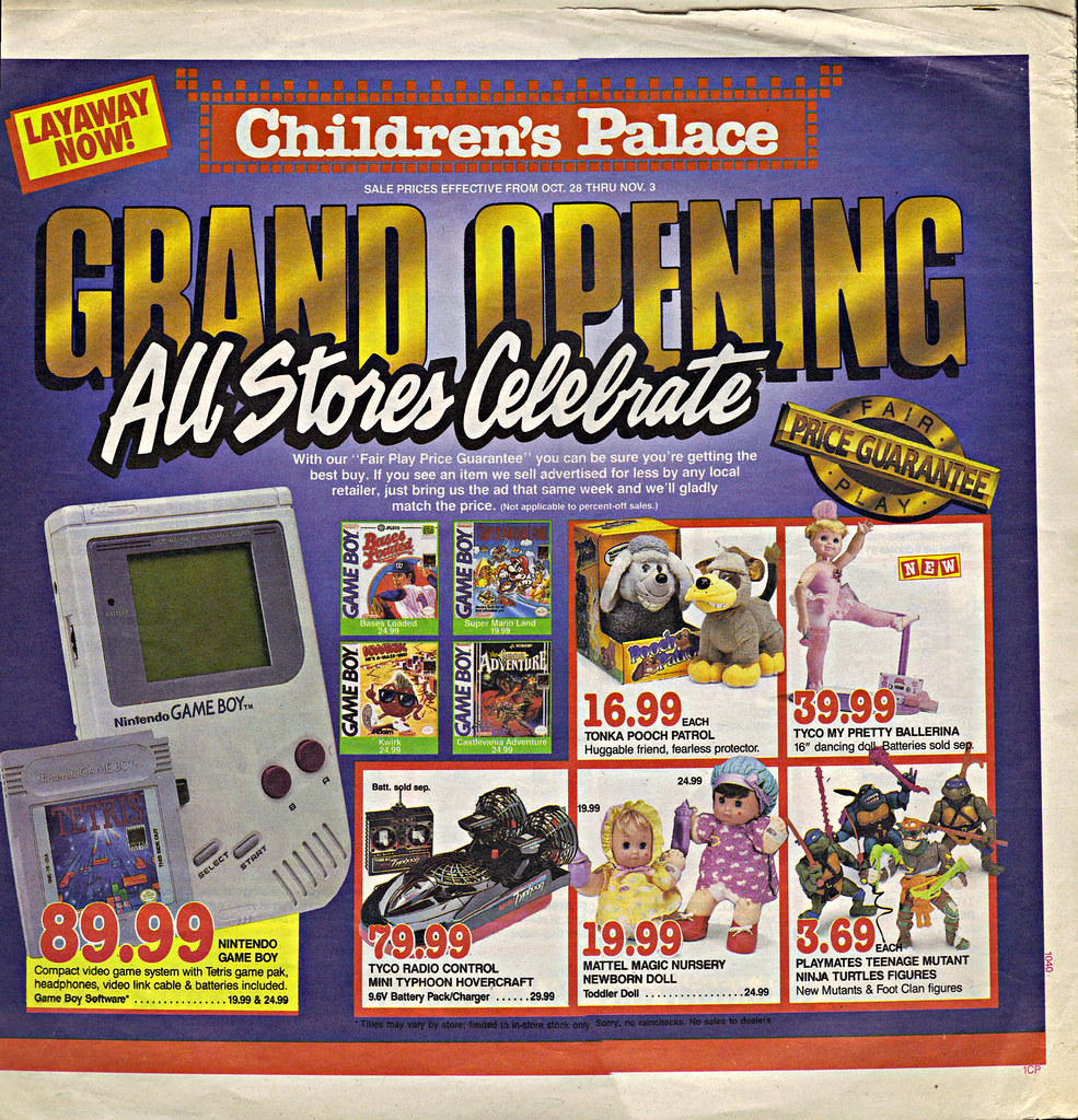 """Children's Palace - """"GRAND OPENING, All Stores Celebrate"""" { Colorado Springs C.P. }  Sunday Newspaper supplement .. pg.1 (( October 28,1990 )) by tOkKa"""