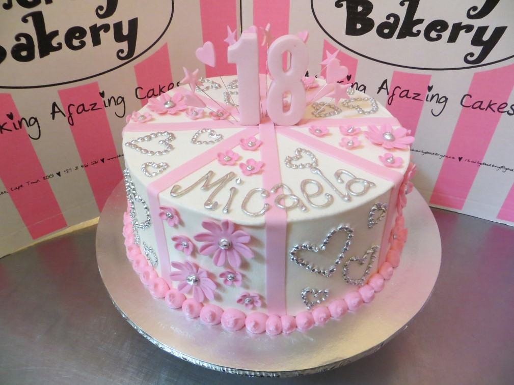 Fine Soft Pink And White 18Th Birthday Cake With Op Art Daisies Flickr Funny Birthday Cards Online Amentibdeldamsfinfo