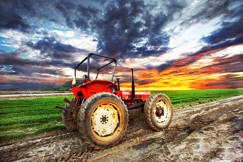 ranch sunset orange tractor green fields crops camarillo hdr venturacounty johndeere