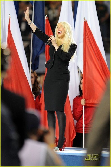 Singer Christina Aguilera performs during the Bridgestone Super Bowl XLV Pregame Show at Dallas Cowboys Stadium on February 6, 2011 in Arlington, Texas.