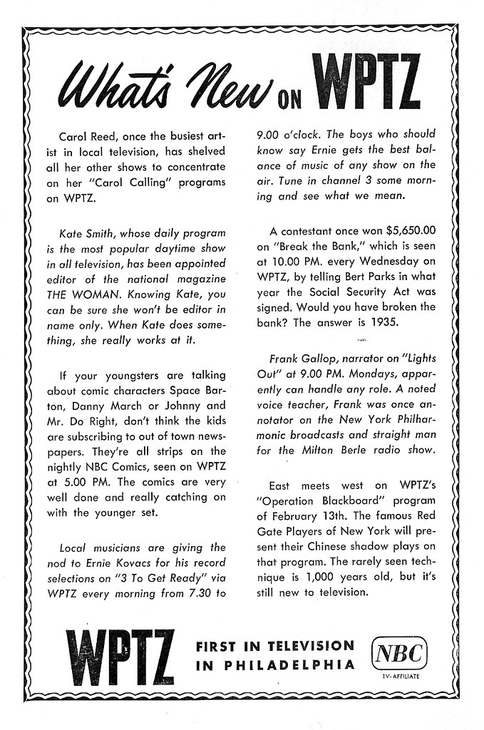 WPTZ Ch 3 Philly Ad Feb 1951 | February, 1951 ad for WPTZ, C
