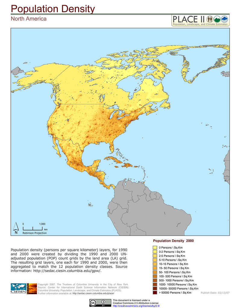 Map Of America By Population Density.North America Population Density Population Density Per