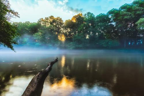 sunrise mist misting rain river chattahoochee water clumsy entrance