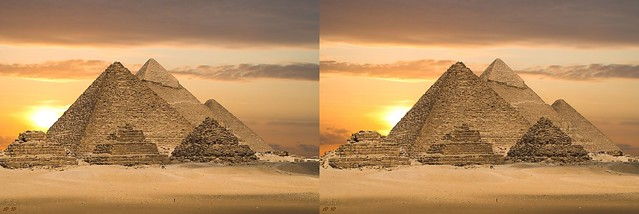 Egyptian Pyramids - 3D Painting - Side by Side ( Parallel )