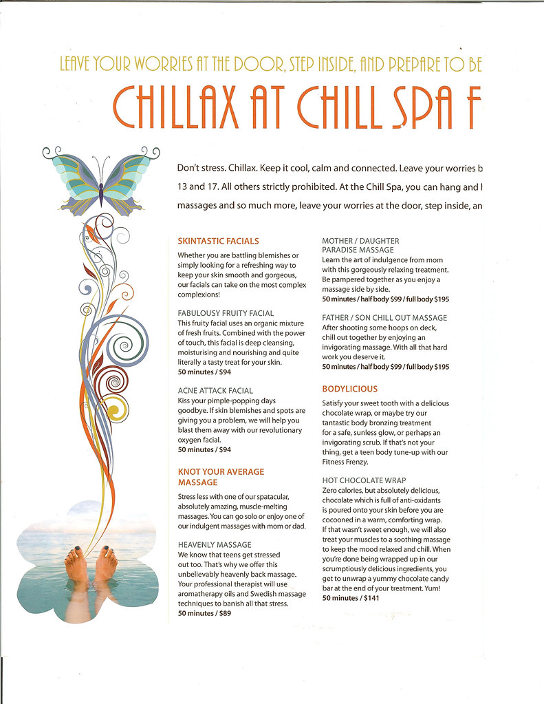 Disney Dream - Chill Spa Menu (Prices) for Teens - Page 2 ...
