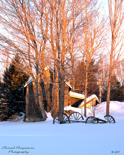 winter snow sunrise wagon shed maine newfieldmaine